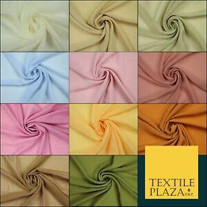 OVER 25 COLOURS - Premium Plain Dyed Crinkle Chiffon Yoryu 75D Dress Fabric 58″