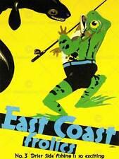 Viajes de pesca deportiva de la Pesca Rana Costa este Reino Unido Anguila impresión de arte poster BB7632B