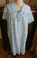 NWOT BRIGHT BLUE WITH FLORAL PRINT MOON DANCE COTTON WOMEN'S ROBE DUSTER SIZE M