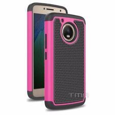 Motorola Moto G5 Rugged Rubber Dual Layer Impact Shockproof Hybrid Case - Pink