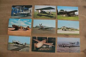 Vintage Postcards WWI WWII Airplanes Aviation Lot Curteichcolor NEW UNUSED