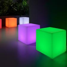 Cubo luminoso led 40cm, luz 16 colores, recargable