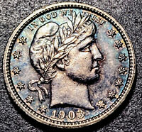 1903/1903 Barber Silver Quarter 25c RPD Mint Error High Grade Toned Type Coin