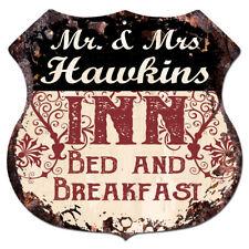 BPLI0191 Mr & Mrs HAWKINS INN Bed & Breakfast Custom Personalized Tin Sign