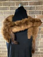 "Vintage Womens (3) Full Mink Fur Pelts Scarf Shawl Wrap 49"" Long."