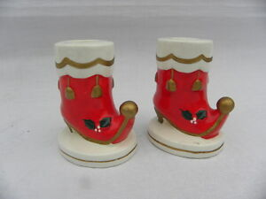 Pr Vtg National Potteries Co Napcoware Christmas Elf Red Boot Candle Holders