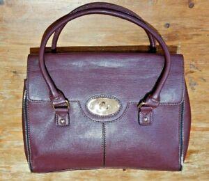 "Jane Shilton Burgundy Leather Womens Handbag 13""x10""x3"""
