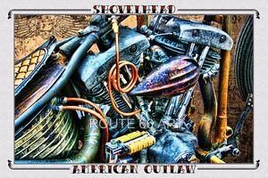 Harley Davidson Shovelhead Chopper Old School Sturgis Outlaw Biker Art Print