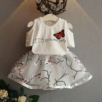 Toddler Girls Kids Outfits Clothes T-shirt Tops+Tulle Tutu Skirt Dress 2PCS Sets