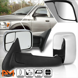 For 02-09 Dodge Ram 1500/2500/3500 Powered+Heated Chrome Side Towing Mirror Pair