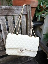 KAMAREL true vintage white quilted genuine leather designer shoulder bag 10""