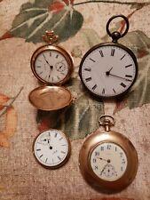 Antique pocket watch parts lot Elgin/Illinois/argent silver keywind read descrip