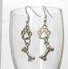 Sterling Silver Earrings Hook Dangle Drop Silver Pet Dog Bone Paw Footprint 925