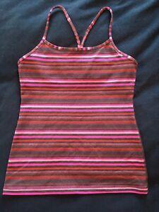 Lululemon Power Y Tank Top 8 Pink Elevation Space Dye Stripes