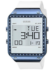 Authentic Guess Lady's Digital white rubber band watch U0700L3 Sale
