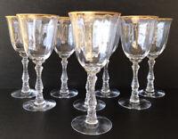 "Vintage Fostoria Wilma Water Goblets 7 5/8"" Stem 6016 Gold Rim Elegant Glass (8)"