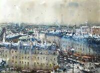 Landscape Painting Watercolor Original Paris Cityscape Impressionism  22x16 in