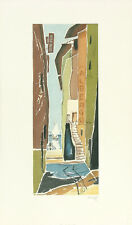 FRITZ NEUMANN (AKA RIC) SIGNED Vtg c1960s Color Etching ALBERGO, MILAN, ITALY?