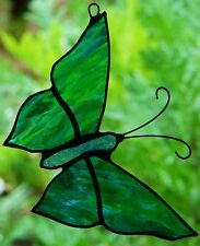 TURQUOISE AQUA GREEN STAINED GLASS BUTTERFLY suncatcher CUSTOM MADE LEADLIGHTS