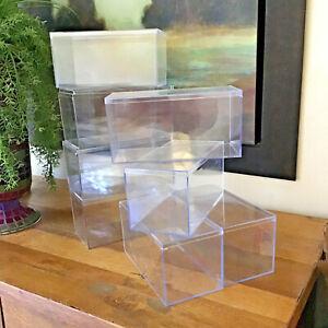 "Lot of 8 Clear Acrylic Display Case Box Shoebox Lid Side Load 4"" x 4"" x 8"""
