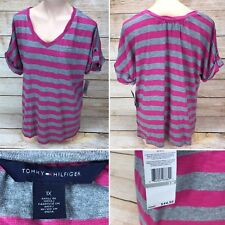 NEW Tommy Hilfiger Women's Size 1X Pink Gray Striped  V Neck Shirt Classic R$45
