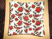 Quilted Microwave Bowl Cozy - Red birds, poinsettias, holly on Sheet Music