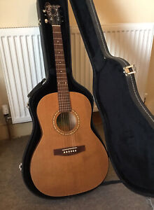 SIMON AND PATRICK LUTHER FOLK CEDAR 6 STRING GUITAR WITH QUALITY HARD CASE
