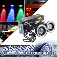 "3.5"" Multi-Color RGB w/ COB LED Angel Eye Rings Halo DRL Fog Bulb For Nissan USA"