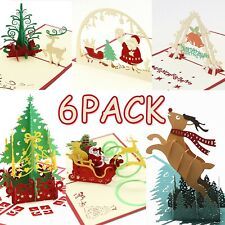 3D Christmas Cards Pop Up Greeting Cards Holiday Postcards Gifts 6 Pcs Envelopes