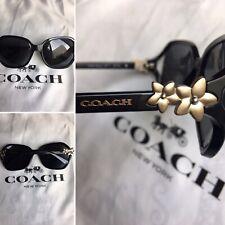 5c7056795332 NEW*Coach HC8233 in BLACK w Matte Gold Flower Grey lens Women's Sunglass  L1033🌸