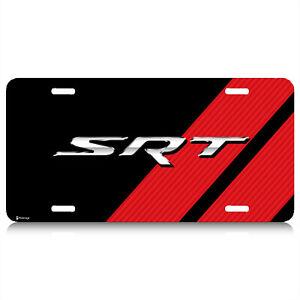 Dodge SRT Carbon Fiber Look Red Stripes Graphic Aluminum License Plate