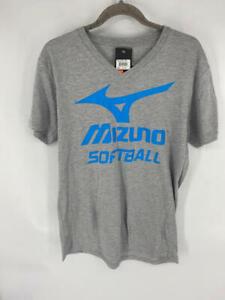Mizuno Women/'s V-Neck Softball T-Shirt Gray Blue Short Sleeve Size S,M,L,XL