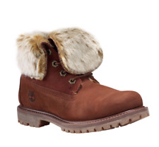 Timberland Authentics Faux Fur Fold Down Womens Wide Fit Cognac Suede Boots NEW