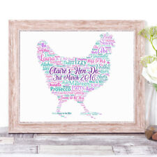 Personalised Hen Word Art Print Bridal Party Hen Do Bride to Be Your Words A4