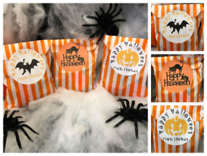 Personalised Happy Halloween Sweet Trick or Treat Orange Striped Candy Party Bag