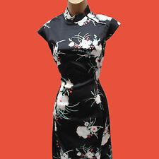 KAREN MILLEN Black Stretch Satin Oriental Floral Cocktail Wiggle Dress 12 UK