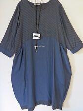 ZEDD..PLUS cooles Ballon Kleid Lagenlook + Kette blau 50-52 (4)