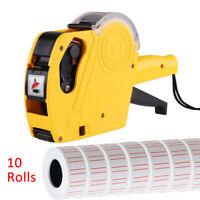 10 Rolls 5000pcs White Price Tag Sticker Gun Labels Paper Refill MX5500 w/ 1 ink