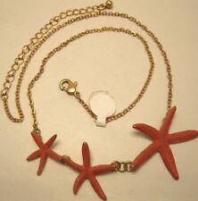 Necklace Delicate Adjustable Gold Chain Hand Painted Coral Starfish NWT  L1265