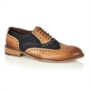 London Brogues Tan Navy Brogue Shoes Mens Vintage Spats 7 8 9 10 11 12