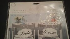 """6.5"""" x 10"""" Wedding Signs Set of 2 Bride & Groom REVERSIBLE to Thank You"""