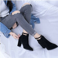 Women's Casual Block Mid Heels Pointed Toe Ankle Boots Buckle Belt Solid Shoes