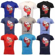 Mens Christmas T Shirt Xmas Santa Claus Print Festive Novelty Cotton Fashion