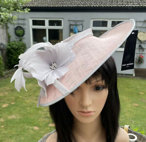 NIGEL RAYMENT PINK AND SILVER GREY DISC FASCINATOR WEDDING ASCOT HAT