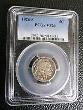 1926-S Buffalo Nickel 5C - PCGS VF20 - Rare Key Date Buffalo!
