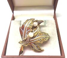 Vintage 1950's Faux Pearl Damascene Brooch Pin