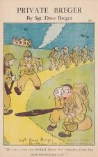 Vintage COMIC MILITARY WWII POSTCARD c1943 Private Breger Taking a Rest Unused