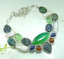 """CHRYSOPHRASE ,LAPIS, HEMATITE, DRUSY/DRUZY  & BALTIC AMBER SILVER NECKLACE 19"""""""
