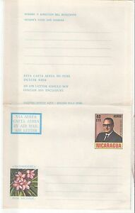 Nicaragua: 3 postal stationery, Air mail, with, pictures, thematic. NI01/