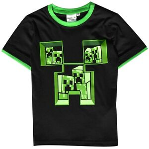 Minecraft Boys Vintage Creeper Duality Sleeve T-Shirt Top Age 5 to 14 Year